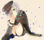 1boy :t armor cape garters green_eyes grey_legwear hat hotarumaru japanese_armor kneehighs leg_hug male_focus shorts silver_hair sitting sm_chika snowflakes sock_garters sode sparkle touken_ranbu