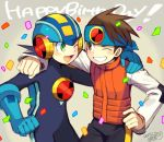 2boys arm_around_neck black_hair blush brown_hair commentary_request confetti dated green_eyes hand_on_another's_shoulder happy_birthday headband hikari_netto iroyopon multiple_boys one_eye_closed open_mouth rockman rockman_exe rockman_exe_(character) short_hair signature smile teeth