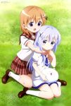 2girls absurdres arms_around_neck blue_eyes blue_hair blush embarrassed gochuumon_wa_usagi_desu_ka? grass hair_ornament highres hoto_cocoa kafuu_chino kneeling multiple_girls official_art open_mouth orange_hair school_uniform sitting smile tippy_(gochiusa) violet_eyes