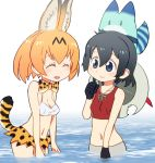 2girls :d ^_^ adapted_costume animal_ears bare_shoulders bikini_top black_gloves black_hair blonde_hair blue_eyes bow bowtie breasts closed_eyes commentary_request crop_top facing_another gloves hair_between_eyes hat hat_around_neck highres kaban_(kemono_friends) kemono_friends looking_at_another lucky_beast_(kemono_friends) multiple_girls navel open_mouth partially_submerged print_bowtie print_skirt red_shirt sat-c serval_(kemono_friends) serval_ears serval_print serval_tail shirt short_hair skirt small_breasts smile tail tank_top wading water white_bikini_top