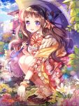 1girl blush bow brown_hair company_name eyebrows_visible_through_hair flower furyou_michi_~gang_road~ hair_bow holding holding_umbrella long_hair looking_at_viewer official_art parasol parted_lips red_bow smile solo squatting teeth umbrella violet_eyes yeonwa