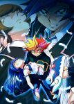 1boy 1girl angry blonde_hair blue_angel blue_hair female fujiki_yuusaku looking_at_viewer male multicolored_hair playmaker projected_inset yuu-gi-ou yuu-gi-ou_vrains zaizen_aoi