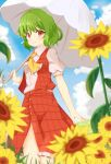 1girl adapted_costume ascot bangs blue_sky blurry blush breasts clouds collared_shirt day depth_of_field flower frilled_skirt frills grass green_hair highres holding holding_umbrella kazami_yuuka looking_at_viewer open_clothes open_vest parasol puffy_short_sleeves puffy_sleeves red_eyes red_skirt red_vest shiny shiny_hair shirt short_hair short_sleeves skirt sky smile solo thighs touhou umbrella vel0x_s vest walking white_legwear white_shirt
