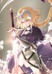 1girl absurdres armor armored_dress black_legwear blonde_hair bow braid breasts closed_eyes cowboy_shot fate/apocrypha fate_(series) floating_hair gauntlets grey_background hair_bow hair_ornament highres holding holding_sword holding_weapon large_breasts long_hair low-tied_long_hair open_mouth penguinking petals purple_bow ruler_(fate/apocrypha) solo standing sword thigh-highs very_long_hair weapon white_flower