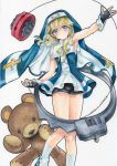 1boy armpits artist_name bare_shoulders bike_shorts blonde_hair blue_eyes blush bridget_(guilty_gear) cuffs dated fingerless_gloves gloves guilty_gear habit handcuffs looking_at_viewer mosho nun sleeveless smile socks solo stuffed_animal stuffed_toy teddy_bear traditional_media trap watercolor_(medium) white_legwear wrist_cuffs yo-yo