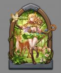 1girl antlers arch belt belt_pouch bird bird_on_hand blonde_hair blouse blue_eyes boots bow bra brown_capelet brown_gloves daisy deer feathers flower forest full_body gloves grass green_bra green_skirt grey_background hair_bow hair_flower hair_ornament highres knee_boots long_hair looking_to_the_side mwwhxl nature open_blouse open_clothes original plant rabbit skirt smile solo staff standing standing_on_one_leg sunflower_hair_ornament thigh-highs underwear vines white_blouse white_legwear