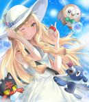 >_o 1girl ;) air_bubble bangs bare_shoulders blonde_hair blue_ribbon blue_sky braid breasts bubble closed_mouth collared_dress commentary cowboy_shot day dress eyebrows_visible_through_hair fhilippedu flower green_eyes hat hat_flower hat_ribbon holding holding_hat holding_poke_ball lillie_(pokemon) litten long_hair looking_at_viewer one_eye_closed outdoors poke_ball pokemon pokemon_(creature) pokemon_(game) pokemon_sm popplio ribbon rowlet sky sleeveless sleeveless_dress small_breasts smile sun sun_hat sundress twin_braids white_dress white_hat