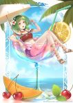 1girl alcohol artist_name bendy_straw black_bra blue_shorts blue_sky bra bracelet breasts cantaloupe cherry_blossoms clouds crop_top cup cutoffs day denim denim_shorts deviantart_username drinking_straw floating flower flower_necklace flower_request food fruit goggles goggles_on_head green_eyes green_hair green_nails gumi hair_flower hair_ornament happy highres holding holding_fruit ice ice_cube in_container in_cup jewelry leaf leaning_back leg_garter lemon lemon_slice looking_at_viewer medium_breasts nail_polish navel necklace open_mouth oversized_object palm_tree partially_submerged sandals shorts sitting sky solo stomach sunlight thighs toenail_polish tongue tree underwear vocaloid watermark web_address yan_wong