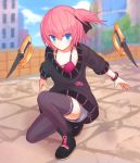 1girl blue_eyes breasts closers full_body looking_at_viewer one_knee oversized_clothes pink_hair ribbon seulbi_lee short_hair side_ponytail small_breasts solo suta_(clusta) weapon