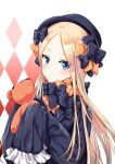 1girl abigail_williams_(fate/grand_order) argyle argyle_background bangs black_bow black_dress black_hat blonde_hair blue_eyes blush bow closed_mouth commentary_request dress eyebrows_visible_through_hair fate/grand_order fate_(series) forehead hair_bow hat holding holding_stuffed_animal l_(yuda07) long_hair long_sleeves looking_at_viewer orange_bow parted_bangs sleeves_past_wrists solo stuffed_animal stuffed_toy teddy_bear very_long_hair white_background
