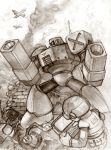 aircraft airplane computer khuntry laptop monochrome robot rockman rockman_(character) smoke tagme text
