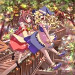 2girls :< :d blonde_hair blush bobby_socks bow broom broom_riding brown_eyes brown_hair detached_sleeves dress hair_bow hakurei_reimu hat kirisame_marisa large_bow loafers long_hair multiple_girls open_mouth ribbon-trimmed_sleeves ribbon_trim seka shoes skirt skirt_set smile socks touhou tree village wall wavy_hair wide_sleeves witch_hat yellow_eyes