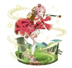 1girl :d boots breasts cleavage crown detached_sleeves dress full_body hammer holding holding_weapon lisbeth_(sao-alo) looking_at_viewer medium_breasts mini_crown miniskirt one_leg_raised open_mouth pink_hair pleated_skirt red_dress red_eyes short_hair sideboob skirt smile solo sparkle sword_art_online thigh-highs thigh_boots weapon white_boots white_skirt