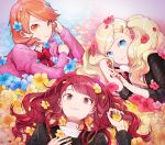 3girls atlus blonde_hair blue_eyes blue_nails bow bowtie brown_eyes brown_hair cute dodonmilk earrings flower gekkoukan_high_school_uniform hair_flower hair_ornament hairclip huan_li jewelry kujikawa_rise looking_at_viewer lying megami_tensei multiple_girls nail_polish on_back on_side persona persona_3 persona_4 persona_5 red_nails school_uniform short_hair shuujin_academy_uniform smile takamaki_anne takeba_yukari trait_connection yasogami_school_uniform yellow_nails