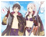 1boy 1girl alternate_costume belly_button belt bikini black_hair blue_sky brown_gloves dinikee female_my_unit_(fire_emblem:_kakusei) female_swimwear fire_emblem fire_emblem:_kakusei fire_emblem_heroes fish gloves hood hooded_jacket jacket jacket_on_shoulders looking_at_viewer male_swimwear mark_(fire_emblem) mother_and_son my_unit_(fire_emblem:_kakusei) navel polearm silver_hair sky stomach swim_trunks swimsuit swimwear trident twintails weapon