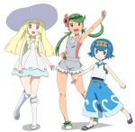 3girls :d arm_up armpits bangs bare_shoulders blonde_hair blue_eyes blue_hair blue_pants blue_sailor_collar blue_shoes blunt_bangs braid bright_pupils capri_pants clenched_hands closed_mouth collared_dress commentary_request dress flower full_body green_eyes green_hair green_hairband green_shoes hair_flower hair_ornament hat kneehighs lillie_(pokemon) long_hair looking_at_viewer mao_(pokemon) multiple_girls no_legwear one-piece_swimsuit open_mouth overalls pants pink_shirt pocket pokemon pokemon_(game) pokemon_sm ribonzu sailor_collar sandals shirt shoes short_hair simple_background sleeveless sleeveless_dress sleeveless_shirt smile standing standing_on_one_leg strapless suiren_(pokemon) sun_hat sundress swimsuit swimsuit_under_clothes teeth trial_captain tubetop twin_braids twintails white_background white_dress white_legwear yellow_hairband