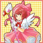 1girl blush card_captor_sakura cosplay dress fire_emblem fire_emblem_if fuuin_no_tsue gloves hat kinomoto_sakura kinomoto_sakura_(cosplay) looking_at_viewer magical_girl namesake pink_hair pink_hat redhead sakura_(fire_emblem_if) sayoyonsayoyo short_hair solo wand white_gloves wings