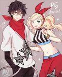 1boy 1girl alternate_costume blonde_hair blue_eyes blush bow bracelet dinikee earrings glasses hair_bow hair_ornament hairclip hand_in_pocket jewelry kurusu_akira looking_at_viewer midriff navel one_eye_closed open_mouth persona persona_5 scarf star star_earrings takamaki_anne twintails v