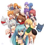 >:o 2boys 6+girls :d :o ^_^ ^o^ ahoge animal animal_ears antenna_hair apple arm_up artist_logo back-to-back bag bandage bandaged_arm bangs bare_shoulders beret black_cat black_hat black_ribbon blonde_hair blue_eyes blue_hair blue_scarf blue_shirt blush bow breasts brown_hair brown_hairband brown_pants cat cat_ears cleavage clenched_hand closed_eyes closed_mouth collar collarbone collared_shirt commentary_request detached_sleeves dog dog_collar drooling expressionless eyebrows_visible_through_hair facing_away fake_animal_ears fist_pump food fruit green_eyes green_skirt grey_cat grey_hair grin hair_between_eyes hair_intakes hair_ornament hair_over_one_eye hair_ribbon hairband halter_top halterneck hand_up hands_up hat high_collar holding holding_animal index_finger_raised juliet_sleeves lesia_hirito long_hair long_sleeves looking_at_another looking_at_viewer looking_to_the_side mahcdai medium_breasts multiple_boys multiple_girls musical_note musical_note_hair_ornament o_o one_eye_closed open_mouth orange orange_eyes orange_hair original outstretched_arm pants paper_bag pink_hair pink_shirt planol_note pleated_skirt ponytail puffy_sleeves purple_bow purple_hair quaver red_scarf redhead ribbon rum_ialis running scar_on_cheek scarf shiny shiny_hair shirt shopping_bag short_hair short_hair_with_long_locks short_twintails side_ponytail sidelocks simple_background skirt sleeveless sleeveless_shirt smile straight_hair strapless striped striped_scarf sweatdrop tareme tears tress_ribbon tsurime twintails upper_body violet_eyes waving white_background white_ribbon white_shirt x_hair_ornament yellow_eyes zipper_pull_tab
