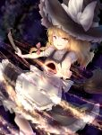 1girl :d apron black_hole_(space) blonde_hair blush braid broom broom_riding commentary dress hat kirisame_marisa long_hair messy_hair minust open_mouth pointing pointing_at_viewer reversed side_braid single_braid smile solo touhou waist_apron wavy_hair witch_hat yellow_eyes
