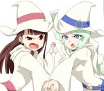 >:o 2girls :o bangs blue_eyes blunt_bangs brown_hair diana_cavendish frown hand_holding hat kagari_atsuko little_witch_academia long_hair long_sleeves looking_at_viewer multiple_girls open_mouth red_eyes ribonzu simple_background white_background white_hair wide_sleeves witch witch_hat