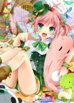 1girl blush bow company_name eyebrows_visible_through_hair fang green_bow green_eyes green_hat green_ribbon hair_ribbon hat holding holding_stuffed_animal index_finger_raised looking_at_viewer mohumohu-san open_mouth panties pantyshot pink_hair pointing pointing_at_viewer pointy_ears ribbon shinkai_no_valkyrie short_hair short_twintails sitting smile solo stuffed_animal stuffed_dinosaur stuffed_toy twintails underwear white_panties