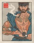 1boy arm_tattoo artist_request chest_tattoo fine_art_parody japanese_clothes katana male_focus metal_gear_(series) metal_gear_solid nihonga parody smoking snake_tatoo solid_snake solo sword tattoo ukiyo-e weapon