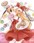 1girl ;p abe_suke blonde_hair bow bowtie cowboy_shot cupcake doughnut eyebrows_visible_through_hair flandre_scarlet food hair_between_eyes hand_to_own_mouth hand_up hat hat_bow hat_ribbon high-waist_skirt holding holding_food holding_plate long_hair looking_at_viewer mob_cap one_eye_closed plate pointy_ears red_bow red_eyes red_ribbon red_skirt red_vest ribbon shiny shiny_hair shirt short_sleeves side_ponytail skirt skirt_set slit_pupils smile solo standing sweets tongue tongue_out touhou vest white_shirt wings wrist_cuffs