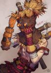 1boy alternate_costume artist_name bandage bare_shoulders fan_ju fire gloves goggles hayseed_junkrat highres injury junkrat_(overwatch) male_focus mask mechanical_arm overwatch scarecrow shirtless solo upper_body
