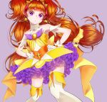 1girl absurdres amanogawa_kirara bare_shoulders choker cure_twinkle earrings gloves go!_princess_precure highres jewelry long_hair looking_at_viewer magical_girl multicolored_hair orange_hair precure redhead simple_background solo star star_earrings thigh-highs twintails two-tone_hair violet_eyes white_gloves yupiteru