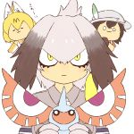 3girls :3 :| abu_markub animal_ears bangs black_gloves black_hair blonde_hair bodystocking bow bowtie bucket_hat chibi closed_eyes closed_mouth collared_shirt crossover elbow_gloves expressionless eyes fingerless_gloves gloves grey_hair grey_shirt hair_between_eyes hat holding horn kaban_(kemono_friends) kemono_friends long_hair looking_at_viewer low_ponytail masquerain multicolored_hair multiple_girls necktie no_nose o_o pokemon pokemon_(creature) red_shirt serval_(kemono_friends) serval_ears serval_print shirt shoebill_(kemono_friends) short_hair short_sleeves side_ponytail simple_background sleeveless sleeveless_shirt slit_pupils smile staring trait_connection white_background white_necktie wing_collar yellow_eyes