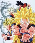 1boy attack attacking_viewer black_eyes black_hair blonde_hair dougi dragon dragon_ball dragonball_z fighting_stance fingernails green_eyes highres kamehameha long_hair looking_at_viewer official_art open_mouth outstretched_hand serious shenron short_hair simple_background solo son_gokuu spiky_hair super_saiyan super_saiyan_2 super_saiyan_3 very_long_hair white_background wristband