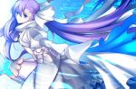 1girl armor armored_boots asymmetrical_bangs bangs boots eyebrows_visible_through_hair fate/extra fate/extra_ccc fate/grand_order fate_(series) from_side hair_between_eyes hair_ribbon hands_in_sleeves highres juliet_sleeves long_hair long_sleeves looking_at_viewer meltlilith paperfinger parted_lips puffy_sleeves purple_hair ribbon smile solo very_long_hair white_coat white_ribbon