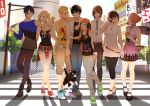 4boys 4girls akechi_gorou artist_request billboard black_eyes black_hair blonde_hair blue_eyes blue_hair brown_hair casual cat cellphone city crosswalk glasses grey_eyes headphones kitagawa_yuusuke kurusu_akira long_hair morgana_(persona_5) multiple_boys multiple_girls necklace necktie niijima_makoto okumura_haru orange_hair pants persona persona_5 red_eyes road sakamoto_ryuuji sakura_futaba shirt shoes short_hair shorts skirt street takamaki_anne tanktop twintails violet_eyes walking