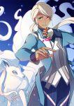 1girl alola_form alolan_ninetales androgynous blanche_(pokemon) blue_eyes dark_skin long_hair ninetales pokemon pokemon_(creature) pokemon_go ponytail white_hair