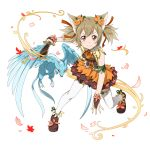 1girl animal_ears breasts bridal_gauntlets brown_hair cat_ears dress flower hair_flower hair_ornament hair_ribbon highres holding holding_sword holding_weapon long_hair looking_at_viewer mini_dragon orange_flower petals pina_(sao) red_eyes red_ribbon ribbon short_dress short_sword short_twintails silica_(sao-alo) small_breasts smile solo sword sword_art_online thigh-highs transparent_background twintails weapon white_legwear