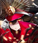 1girl adjusting_clothes adjusting_hat black_hair black_hat close-up demon_archer fate/grand_order fate_(series) gloves hair_between_eyes hat long_hair looking_at_viewer ming_(torga) red_eyes solo upper_body white_gloves