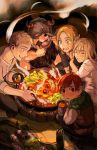 2girls 3boys arm_grab beard black_hair blonde_hair blush bottle bowl brother_and_sister chilchuck closed_eyes cup drooling dungeon_meshi elf facial_hair farin_(dungeon_meshi) helmet highres horns katy_ho ladle laios_(dungeon_meshi) looking_at_viewer looking_away looking_back marcille mug multiple_boys multiple_girls mushroom mustache one_eye_closed pointy_ears senshi_(dungeon_meshi) siblings spoon tunic
