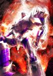 1boy artist_request burning decepticon full_body glowing glowing_eyes insignia machine machinery mecha megatron megatron_(prime) no_humans personification red_eyes robot transformers transformers_prime