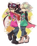 +_+ 2girls :p ankle_boots aori_(splatoon) arm_grab black_boots black_coat black_hair black_pants boots bracelet closed_mouth coat commentary cousins cross-laced_footwear domino_mask earrings english full_body green_shirt grey_hair hotaru_(splatoon) jewelry long_hair long_sleeves looking_at_viewer mask mole mole_under_eye multiple_girls one_eye_closed open_clothes open_coat paint_splatter pants print_shirt purple_shirt shirt short_hair simple_background smile splatoon splatoon_2 standing standing_on_one_leg sunglasses sunglasses_on_head t-shirt tentacle_hair tied_jacket tongue tongue_out trench_coat white_background white_boots wong_ying_chee