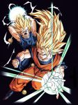 2boys attack_ball attacking_viewer black_background blonde_hair boots dougi dragon_ball dragon_ball_(object) dragonball_z energy fighting_stance gloves green_eyes highres long_hair looking_at_viewer multiple_boys official_art open_mouth outstretched_hand serious short_hair son_gokuu spiky_hair vegeta very_long_hair wristband