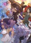 3boys 4girls :d ahoge armor bangs belt belt_buckle black_hair black_legwear blue_bow blue_bowtie blue_hair blue_sky book boots bow bowtie bracelet breasts buckle cable cape caster_(fate/extra_ccc) chokoan_(tyokoa4649) cloak closed_eyes commentary_request dark_skin dress elbow_gloves eyebrows_visible_through_hair facial_mark falling fate/grand_order fate_(series) frilled_dress frills fujimaru_ritsuka_(female) fur_trim glasses gloves hair_ornament hair_over_one_eye happy hat headband headphones highres holding holding_shield index_finger_raised jewelry labcoat long_hair long_sleeves medium_breasts medjed merlin_(fate/stay_night) midair midriff multiple_boys multiple_girls necktie nitocris_(fate/grand_order) nursery_rhyme_(fate/extra) one_eye_closed open_mouth orange_eyes orange_hair outdoors outstretched_arms pants pantyhose pink_hair purple_hair sheath shield shielder_(fate/grand_order) short_hair side_ponytail sidelocks skirt sky smile staff striped striped_necktie sweatdrop sweater tablet violet_eyes waver_velvet white_boots white_hair wing_collar