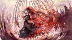 1girl akemi_homura bai_qi-qsr black_hair closed_eyes flower from_side hair_flower hair_ornament hairband long_hair looking_away mahou_shoujo_madoka_magica parted_lips red_flower solo