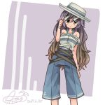 1girl :> aioi_aoi alternate_costume anchor_symbol bare_shoulders bead_necklace beads blue_pants brown_eyes brown_hair collarbone cowboy_shot dated gradient_hair hair_between_eyes hat hijiri_byakuren jewelry long_hair looking_at_viewer multicolored_hair necklace off-shoulder_shirt pants purple_background purple_hair shirt signature smile solo sunglasses touhou very_long_hair white_hat white_shirt