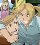 1girl 2boys alphonse_elric blonde_hair blue_eyes blue_shirt brothers clouds edward_elric fullmetal_alchemist grin hands_on_another's_shoulders hands_on_hips highres house long_hair multiple_boys official_art one_eye_closed open_mouth pink_shirt ponytail purple_shirt red_shirt shirt short_hair siblings sky smile winry_rockbell yellow_eyes