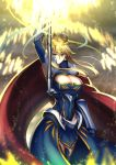 1girl ahoge arm_up armor armpits artoria_pendragon_lancer_(fate/grand_order) bangs blonde_hair blue_legwear blue_leotard blue_skirt breasts cape cleavage cleavage_cutout closed_mouth commentary_request covered_navel cross crown detached_sleeves expressionless eyebrows_visible_through_hair fate/grand_order fate_(series) fur-trimmed_cape fur_trim gauntlets glowing glowing_weapon green_eyes hair_between_eyes holding holding_weapon kotera_ryou lance large_breasts legs_together leotard light_particles looking_at_viewer polearm red_cape rhongomyniad saber short_hair_with_long_locks skirt solo standing thigh-highs tsurime waist_cape weapon wind
