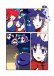 ! 2girls arm_around_shoulder blue_hair boat breasts chinese_clothes cleavage closed_eyes comic commentary_request duskull eyebrows_visible_through_hair flat_cap hair_bobbles hair_ornament hat highres large_breasts mattari_yufi miyako_yoshika multiple_girls one_eye_closed onozuka_komachi open_mouth pokemon redhead river short_sleeves smile spoken_exclamation_mark star surprised sweatdrop touhou translation_request twintails violet_eyes watercraft