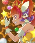 1girl amanogawa_kirara aroma_(go!_princess_precure) bare_shoulders blurry brown_hair chocokin cure_twinkle eyebrows_visible_through_hair gloves go!_princess_precure highres long_hair magical_girl multicolored_hair pink_hair precure profile smile star two-tone_hair violet_eyes white_gloves