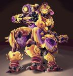 absurdres alternate_costume arm_cannon artsyrobo back centauroid clenched_hand highres horn megasoma_orisa omnic orisa_(overwatch) overwatch robot solo weapon yellow_eyes