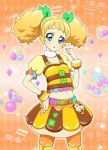 1girl aikatsu! aikatsu!_photo_on_stage!! bee bee_costume belt blonde_hair blue_eyes bow bracelet clover green_bow hand_on_hip honey jewelry musical_note navel orange_background saegusa_kii shirt skirt twintails yellow_shirt yellow_skirt